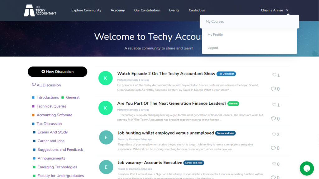 The Techy accountant Learning portal