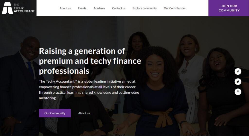 landing page Techy Accountant